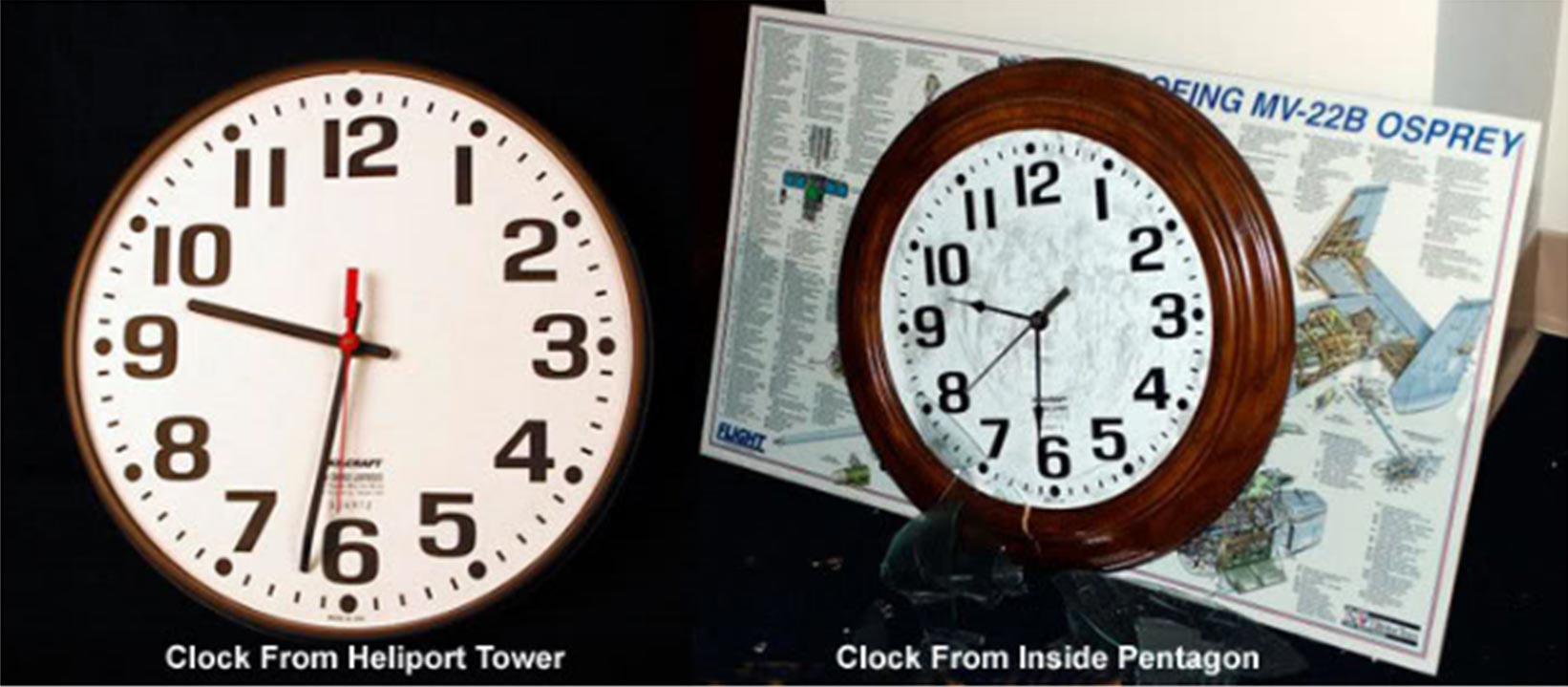 >Fig. 3. Some of the west section Pentagon wall clocks stopped shortly after 9:30 on Sept. 11. consistent with the early media reports (see below). The clock on the left, from the heliport firehouse located outside the west wall, is in the Smithsonian Institution's 9/11 exhibit.