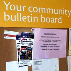 brochures on bulletin board