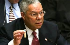 Colin Powell holding vile of Anthrax at UN summit