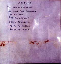 Photo of anthrax  letter sent to Senators Daschle and Leahy