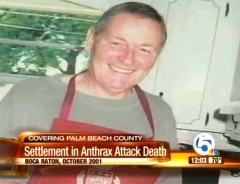 The first anthrax death was of Robert Stevens