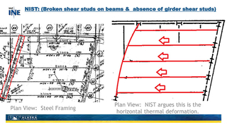 Slide 15: NIST: (Broken shear studs on beams & absence of girder shear studs)