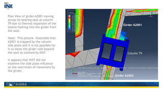 Slide 32: Plan view of girder A-2001 impinged upon side plate lips
