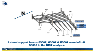 Slide 36: Lateral support beams S3007, G3007 & K3007 were left off G3005 in the NIST analysis.