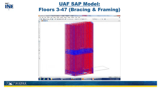 Slide 67: UAF's SAP2000 Model: floors 3-47 (bracing & framing)