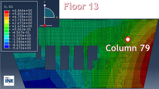 Slide77: Horizontal displacement due to thermal expansion of floor 13 at col 79