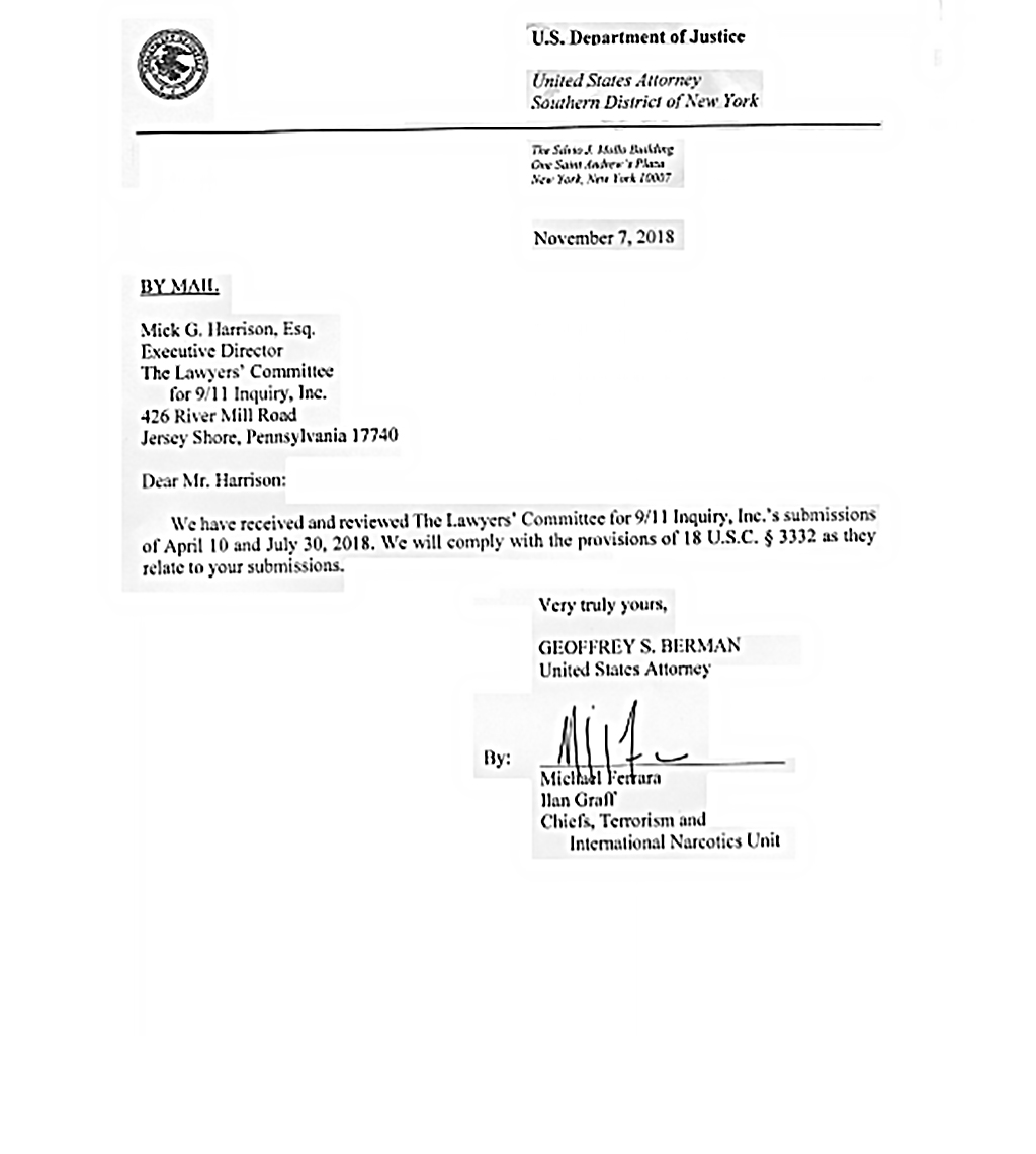 U S  Attorney for the Southern District of New York Responds