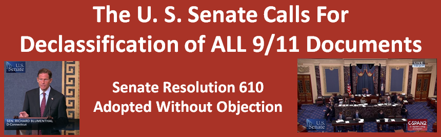 "U.S. Senate Resolution 610: ""… people of the United States deserve answers about [ 9/11]"""