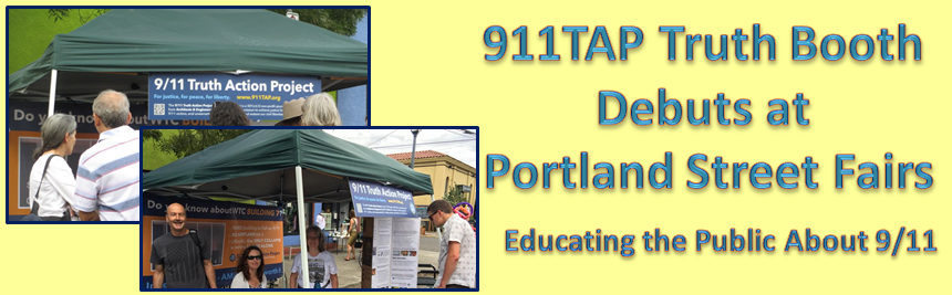 911TAP Truth Booth Debuts at Portland Street Fairs – Educating the Public About 9/11