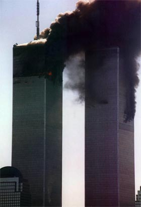 twin towers burning thumb